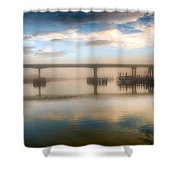 Shrimp Boats At Sunrise Shower Curtain by Renee Sullivan