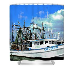Shrimp Boats Shower Curtain
