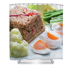 Shower Curtain featuring the photograph Shrimp Paste Fried Rice by Atiketta Sangasaeng
