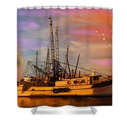 Shrimpers At Dock Shower Curtain