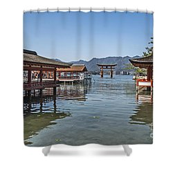 Shower Curtain featuring the photograph Shrine Over Water by Pravine Chester