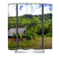 Shower Curtain featuring the photograph Shuar Hut In The Amazon by Al Bourassa
