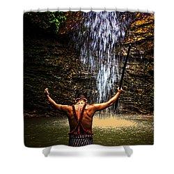 Shuar Shaman At Sucua Ecuador Shower Curtain by Al Bourassa