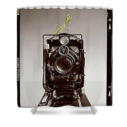 Shower Curtain featuring the photograph Shutterbug Mantis by Martin Konopacki