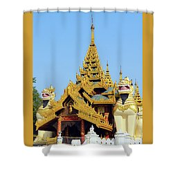 Shower Curtain featuring the digital art Shwedagon Pagoda 1 by Eva Kaufman