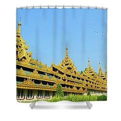 Shower Curtain featuring the digital art Shwedagon Pagoda 2 by Eva Kaufman