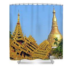 Shower Curtain featuring the digital art Shwedagon Pagoda 3 by Eva Kaufman