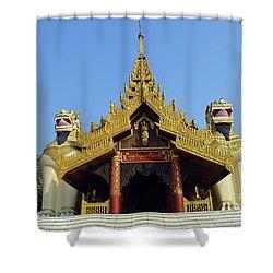 Shower Curtain featuring the digital art Shwedagon Pagoda 4 by Eva Kaufman