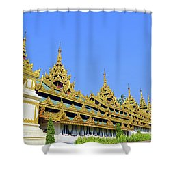 Shower Curtain featuring the digital art Shwedagon Pagoda  by Eva Kaufman