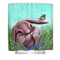 Shower Curtain featuring the painting Shy Bunny - Original Painting by Linda Apple