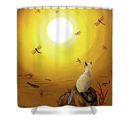 Siamese Cat With Red Dragonflies Shower Curtain by Laura Iverson