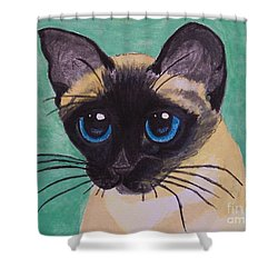 Shower Curtain featuring the painting Siamese by Leslie Allen