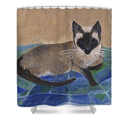 Shower Curtain featuring the painting Siamese Nap by Jamie Frier