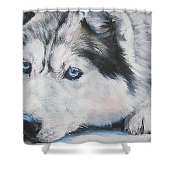 Siberian Husky Up Close Shower Curtain by Lee Ann Shepard