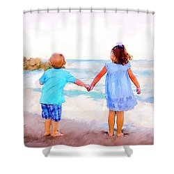 Sibling At Sunset Shower Curtain