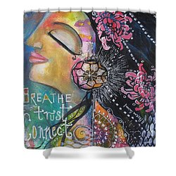 Side Face With Words Shower Curtain