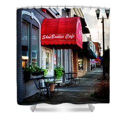 Sidewalk At Shoebooties Cafe Shower Curtain