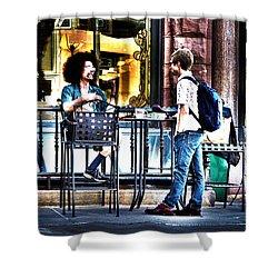 Sidewalk Cafe Patrons Shower Curtain