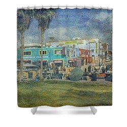 Shower Curtain featuring the photograph Sidewalk Cafe Venice Ca Panorama  by David Zanzinger
