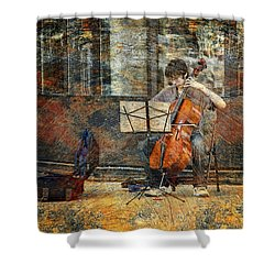 Sidewalk Cellist Shower Curtain