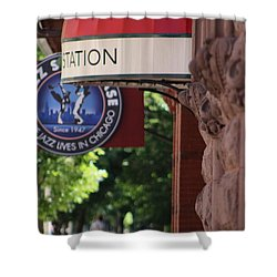 Sidewalk View Jazz Station  Shower Curtain