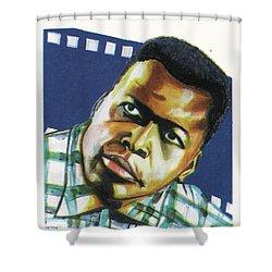 Sidney Poitier Shower Curtain by Emmanuel Baliyanga