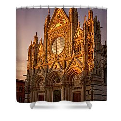 Shower Curtain featuring the photograph Siena Italy Cathedral Sunset by Joan Carroll