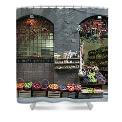Shower Curtain featuring the photograph Siena Italy Fruit Shop by Mark Czerniec