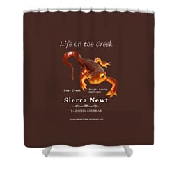 Sierra Newt - Color Newt - White Text Shower Curtain