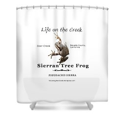 Sierran Tree Frog - Photo Frog, Black Text Shower Curtain
