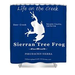 Sierran Tree Frog - White Graphic, White Text Shower Curtain