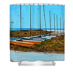 Siesta Key Access #8 Catamarans Shower Curtain