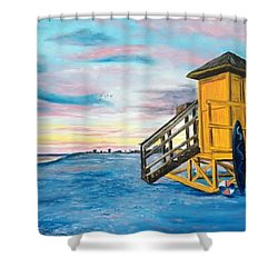Siesta Key Life Guard Shack At Sunset Shower Curtain