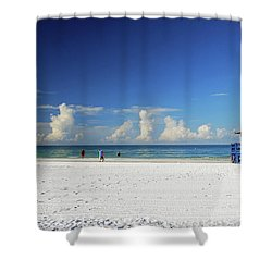 Shower Curtain featuring the photograph Siesta Key Life Guard Shack by Gary Wonning