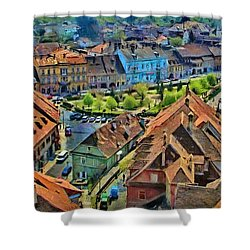 Shower Curtain featuring the painting Sighisoara From Above by Jeff Kolker
