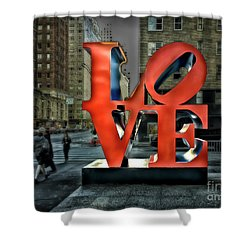 Shower Curtain featuring the photograph Sights In New York City - Love Statue by Walt Foegelle