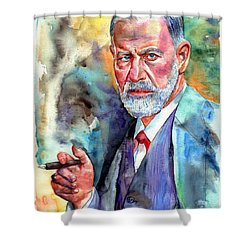 Sigmund Freud Painting Shower Curtain