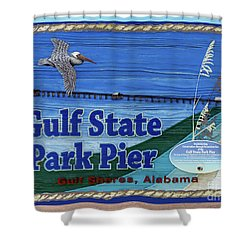 Sign Gulf Shores State Park Pier Al 1604a Shower Curtain