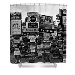 Sign Post Forest Shower Curtain by Juergen Weiss
