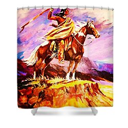 Signalling Sighting Of The Buffalo Herd Shower Curtain by Al Brown