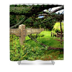 Signpost In Hobbiton Shower Curtain