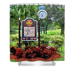 Signs And Clock At Mahogany Run Shower Curtain