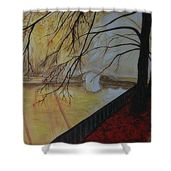 Shower Curtain featuring the painting Silence by Leslie Allen
