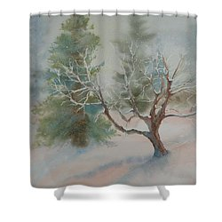 Silence Shower Curtain by Ruth Kamenev