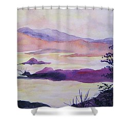 Shower Curtain featuring the painting Silent Dawn by Ellen Levinson