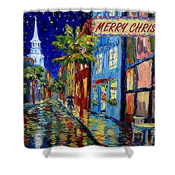 Silent Night Christmas Card Shower Curtain