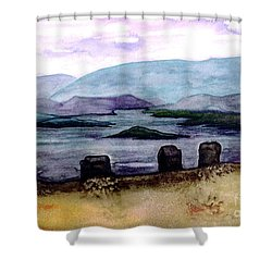 Shower Curtain featuring the painting Silent Sentinels by Patricia Griffin Brett