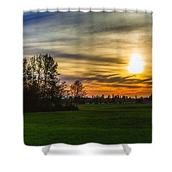 Silhouette And Sunset Shower Curtain
