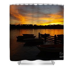 Silhouette Boats Shower Curtain