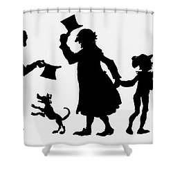 Silhouette Illustration From A Christmas Carol By Charles Dickens Shower Curtain by English School